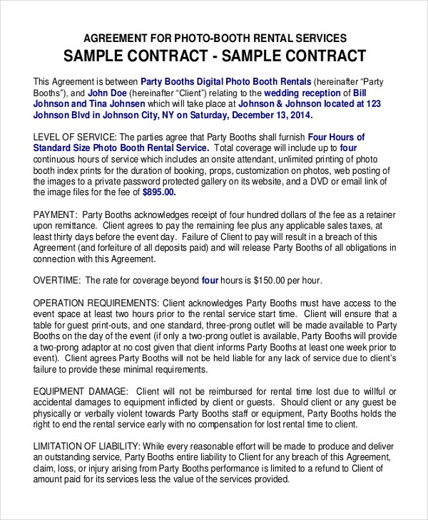 Sample Party Booth Rental Agreement Template Free Download