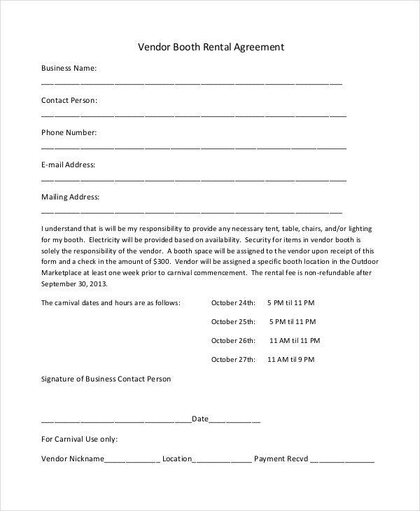13 Booth Rental Agreement Templates Free Sample Example Format – Vendor Contract Template