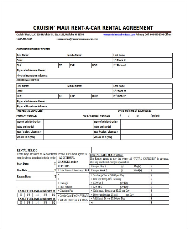 Car Rental Agreement Blank Car Rental Agreement Example Download