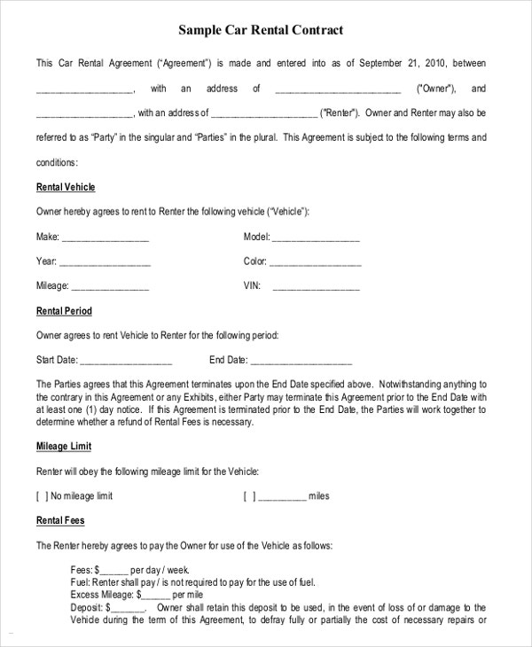 Sample Car Rental Agreement Template Download  Generic Lease Template