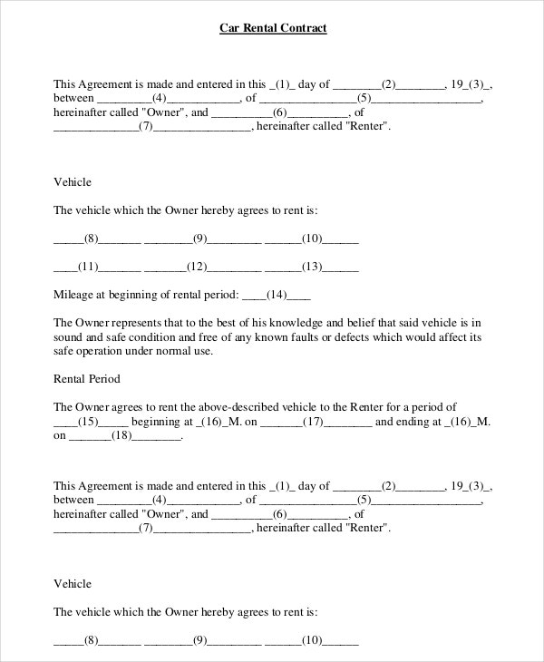 14 Car Rental Agreement Templates Free Sample Example Format – Auto Contract Template