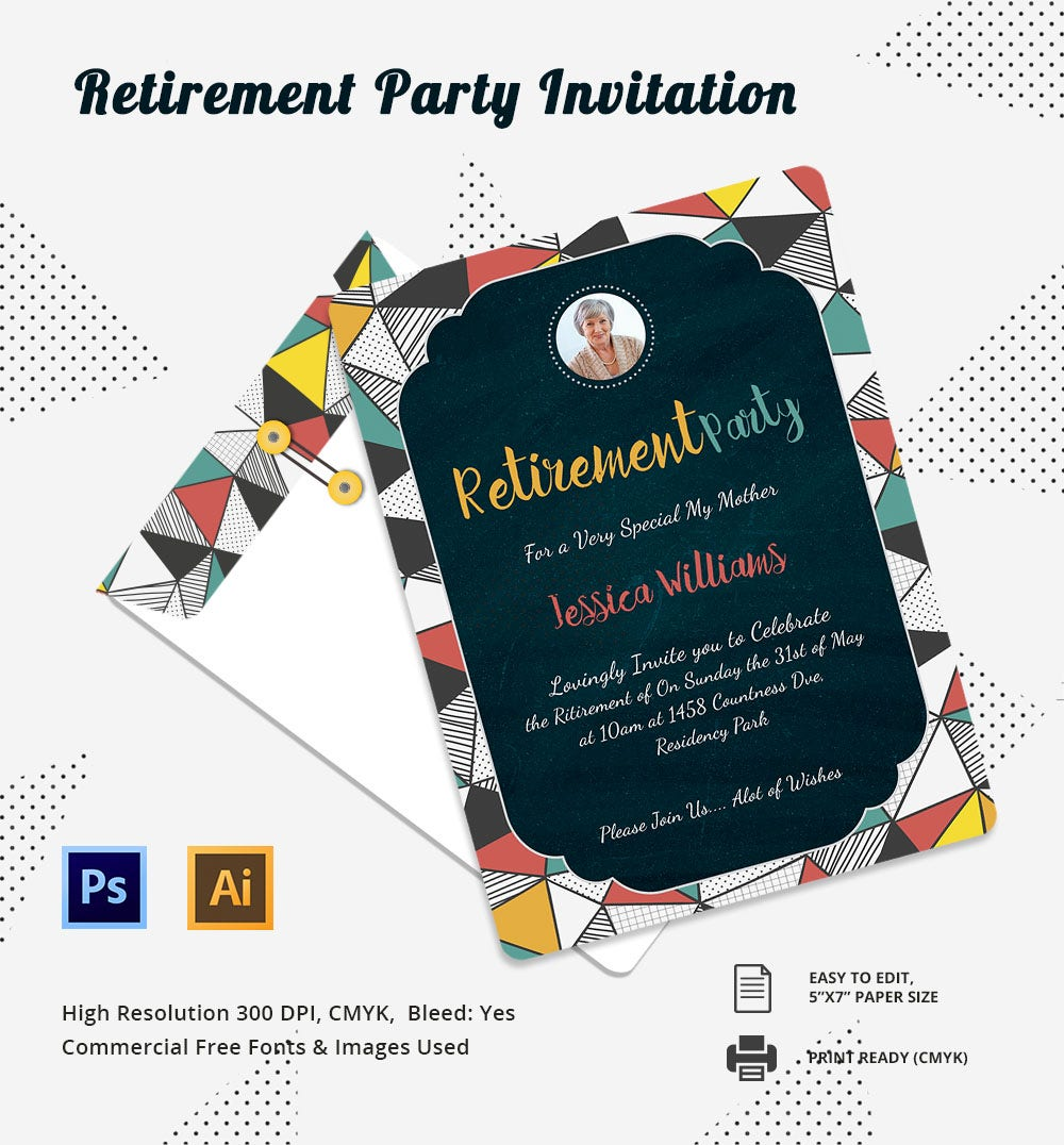 15 retirement invitation template free psd vector eps for Retirement invitation template free