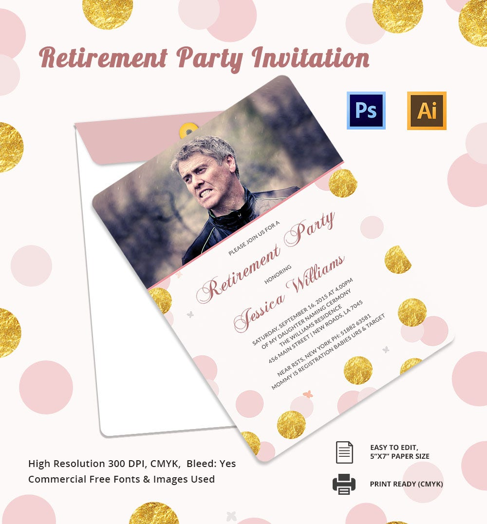 16 retirement invitation templates free sample example format high resolution retirement party template stopboris Image collections