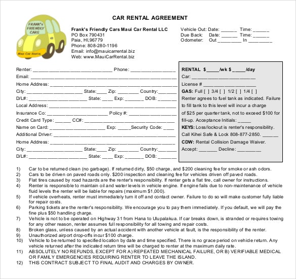 13 Car Rental Agreement Templates Free Sample Example Format
