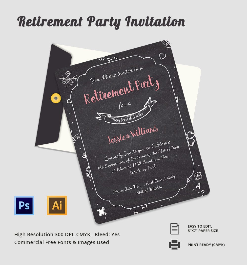 Retirement Invitation Template 15 Free PSD Vector EPS AI – Printable Retirement Party Invitations