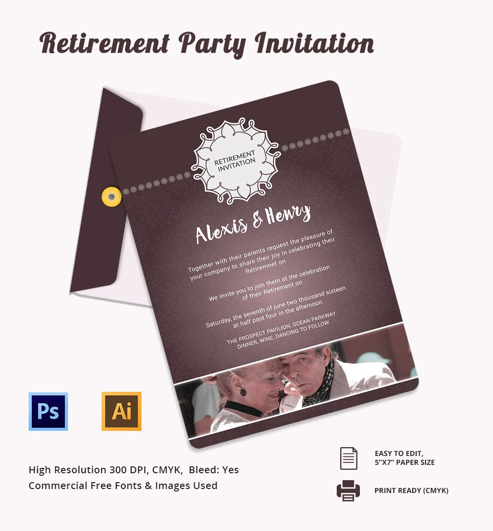 16 retirement invitation templates free sample example format print ready retirement party invitation template stopboris Image collections