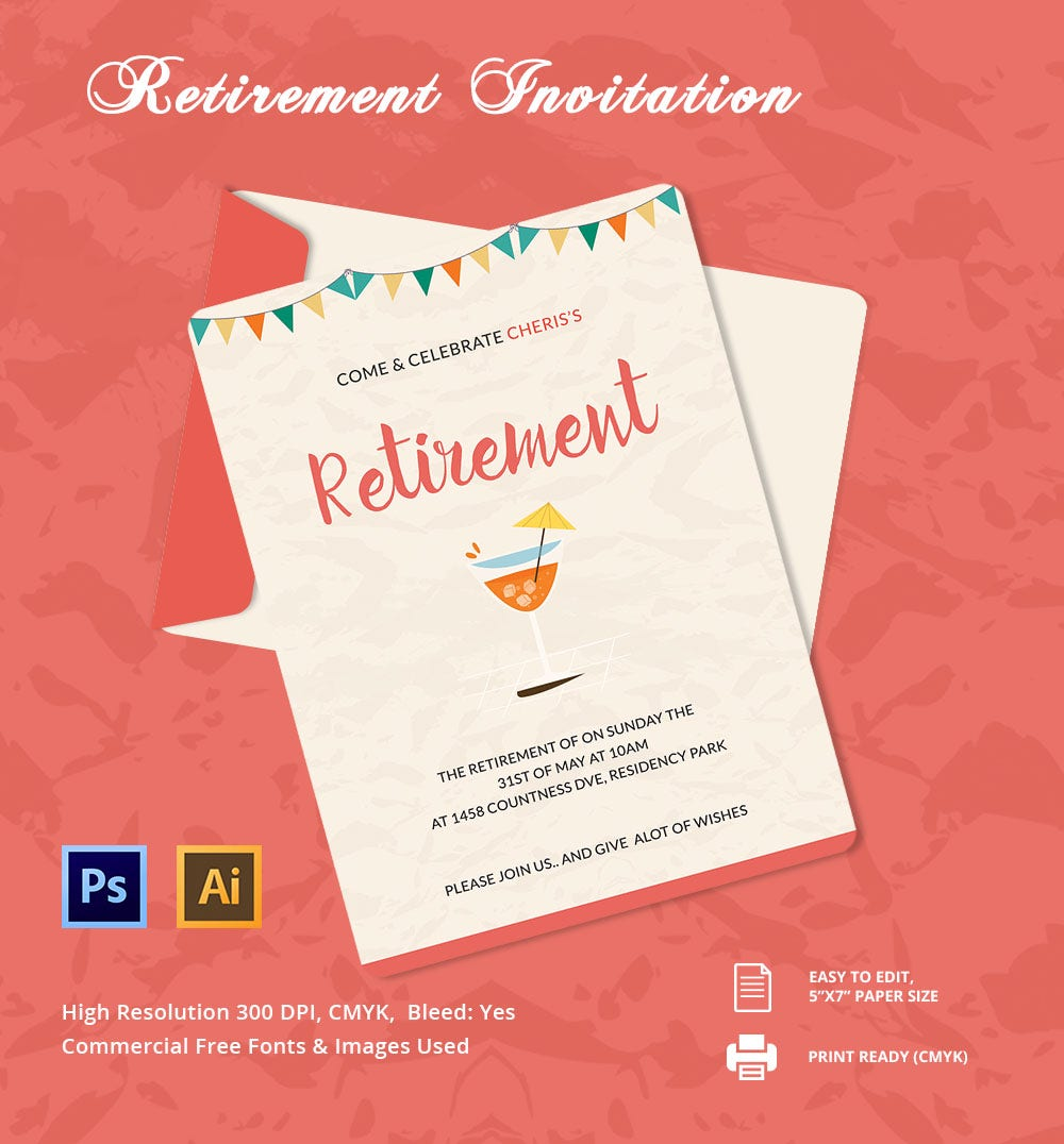 Beautiful Retirement Party Invitation Template  Invitations Templates