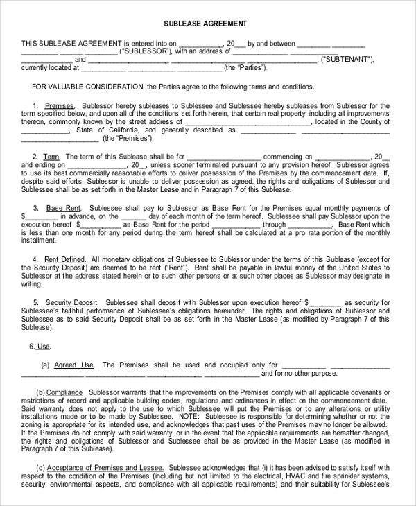 Enterprise Sub Lease Agreement Example Template Free Download