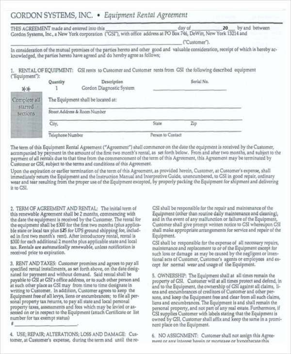 gordon system remtal agreement template example download