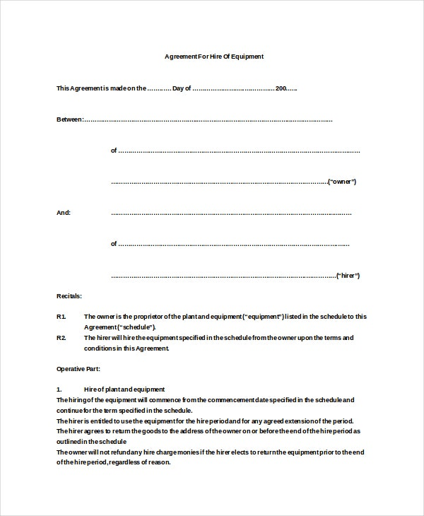 equipment hire agreement doc free download - Simple Equipment Rental Agreement Template Free