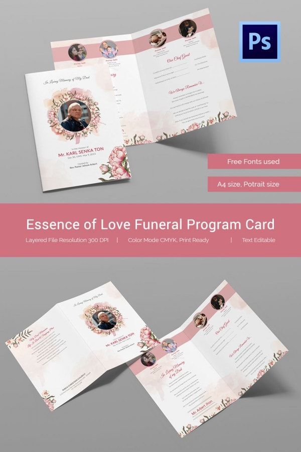 Essence of Love Funeral Program Card