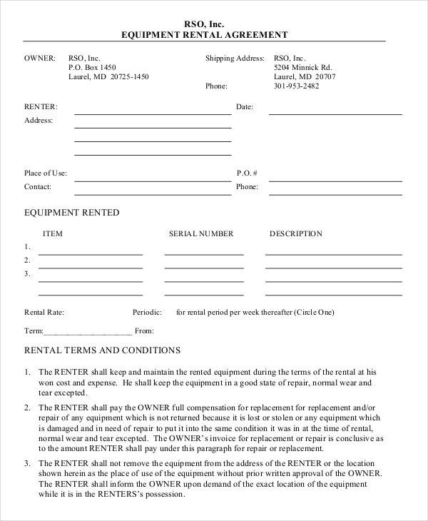 13 Equipment Rental Agreement Templates Free Sample Example – Tenant Contract Template Free