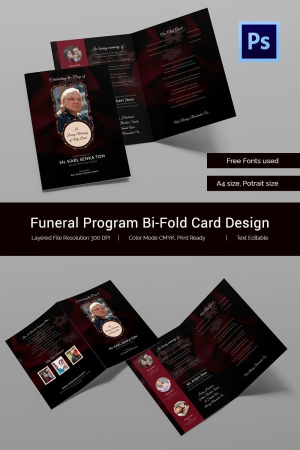 Funeral Program Bi-Fold Card Design