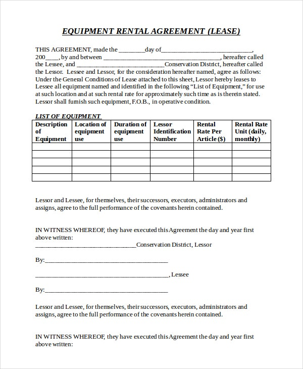 Equipment Rental Agreement Templates  Free Sample Example