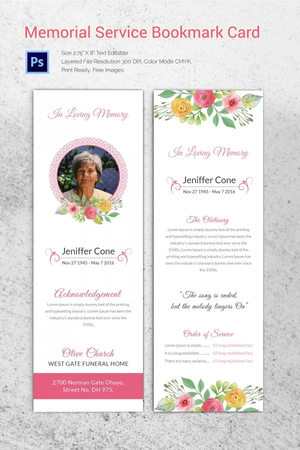 20 funeral program templates free word excel pdf psd for Funeral bookmarks template free