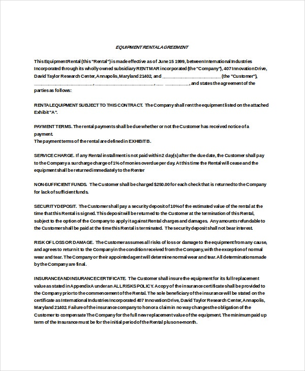 13 Equipment Rental Agreement Templates Free Sample Example – Equipment Rental Agreement