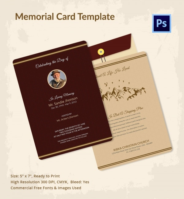 21 obituary card templates free printable word excel for Funeral memory cards free templates