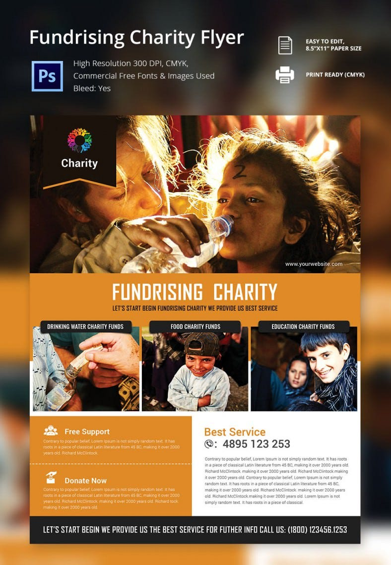 cool fundraiser charity flyer template