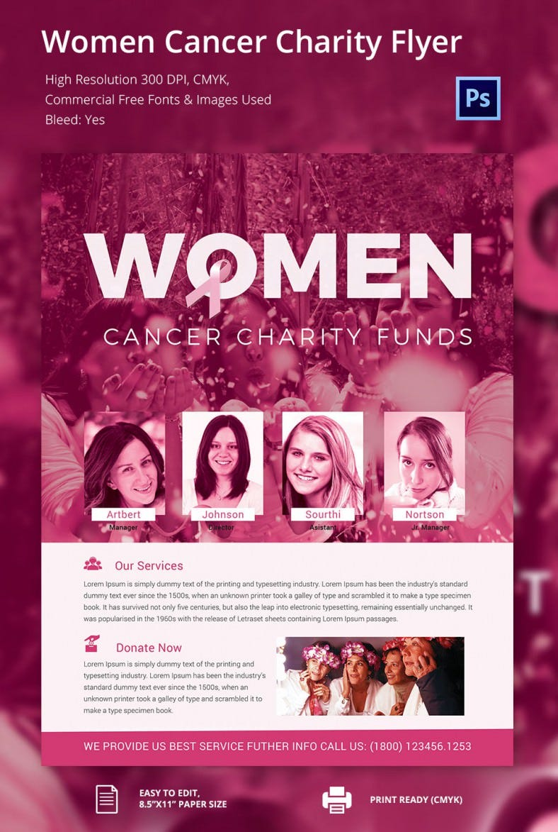 Woman Cancer Charity Flyer  Donation Flyer Template