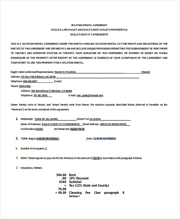 Vacation House Rental Agreement Template Example Free Download