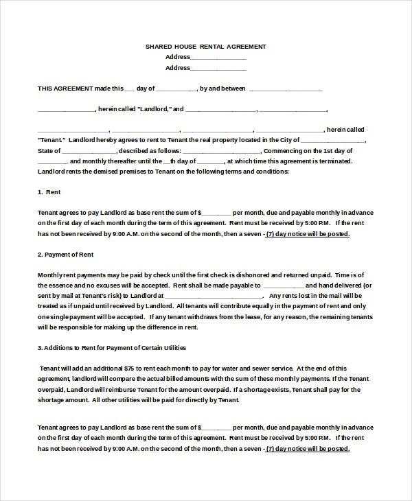 House Rental Agreement Templates  Free Sample Example Format