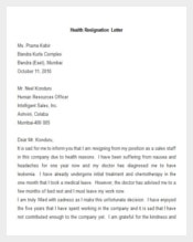 sample health resignation letter