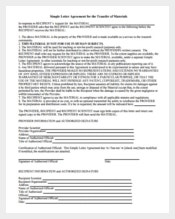 Simple-Letter-Agreement-for-the-Transfer-of-Materials-Printable