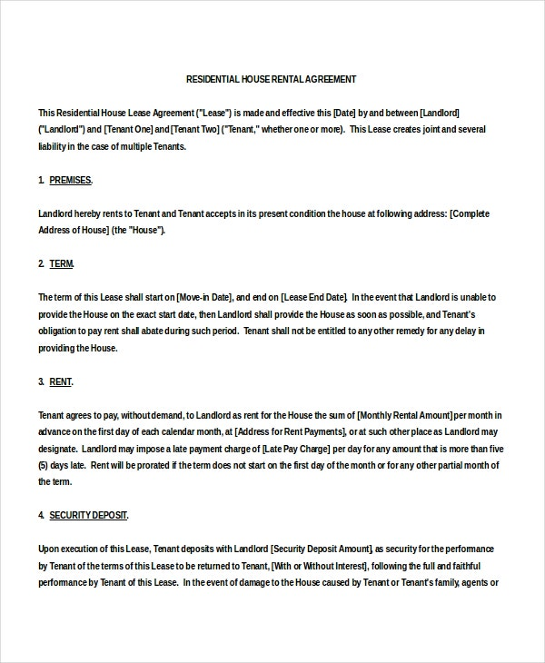 Template Rental Agreement  Generic Rental Contract