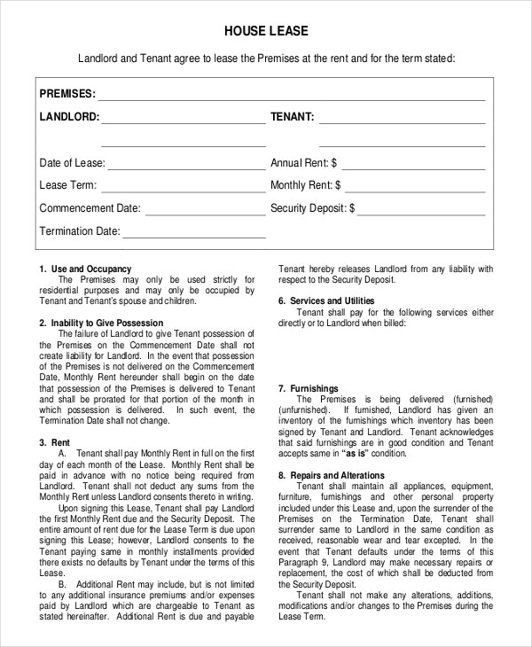 House lease agreement format
