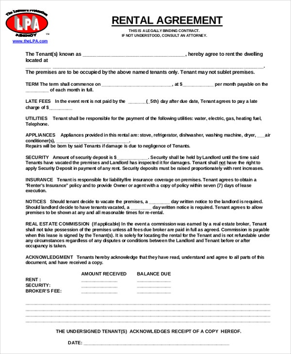 11 Free Rental Agreement Templates Free Sample Example Format – Lease Agreement Example