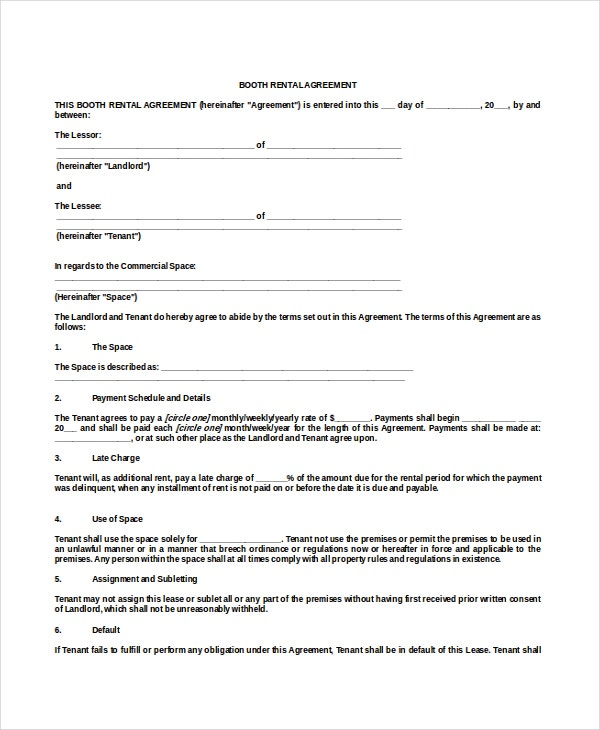 Free Booth Rental Agreement Example Template Download