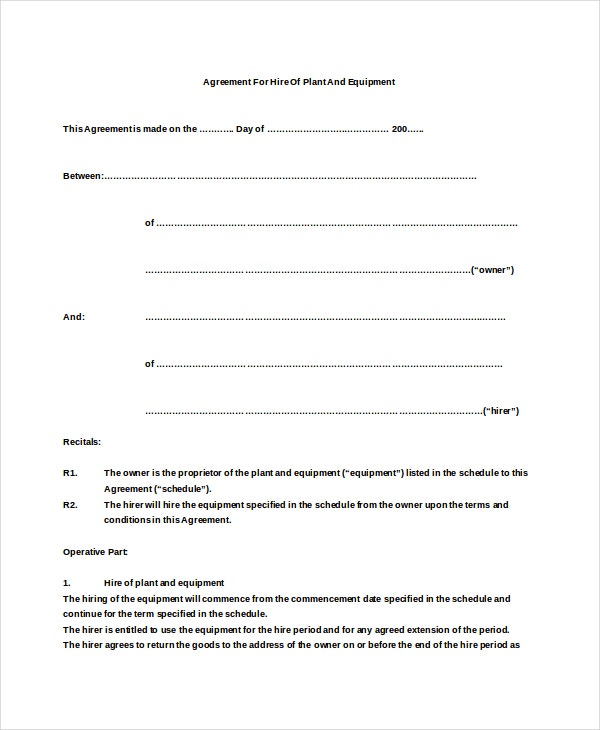 agreement for hire of plant and equipment free sample download