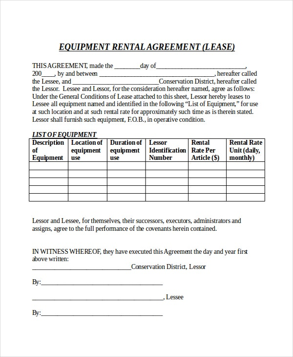 Equipment Month To Month Rental Agreement Free Sample Download