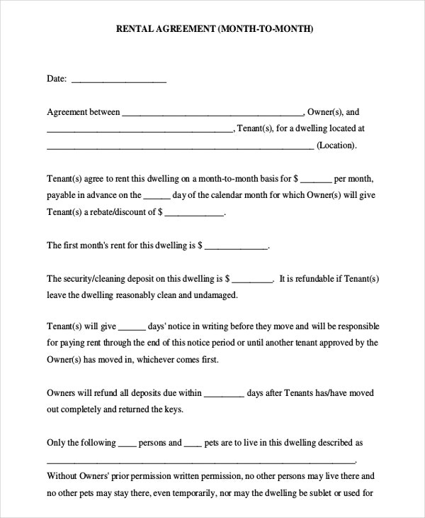 Month to Month Rental Agreement PDF Free Download
