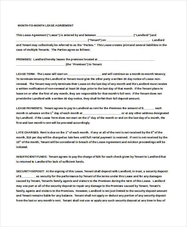 Month To Month Rental Agreement  Free Sample Example Format