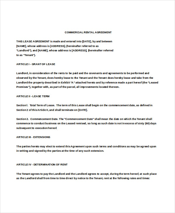 Property Rental Agreement Templates  Free Sample Example