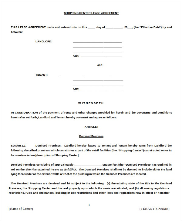Lease Agreement Samples Sample Shopping Center Lease Agreement – Lease Agreement Sample