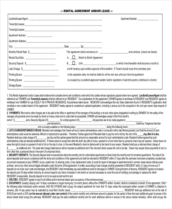 one page rental agreement form pdf download for free