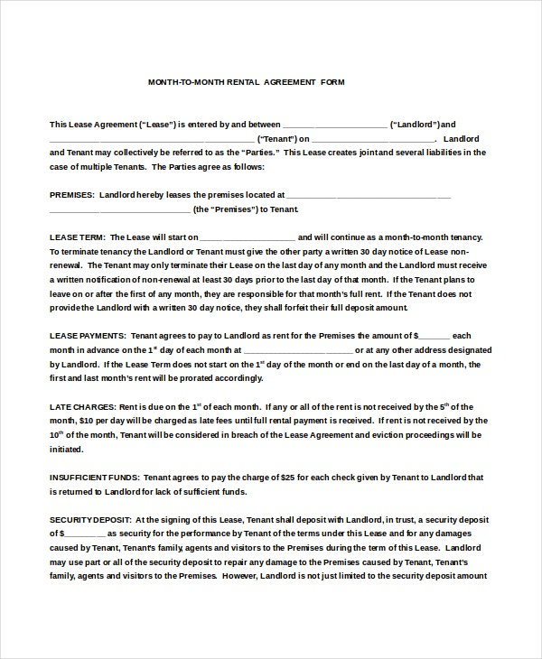 Month To Month Rental Agreement Form Doc Download
