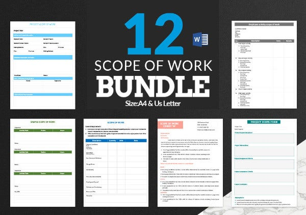 12 Scope of Work Templates Bundle