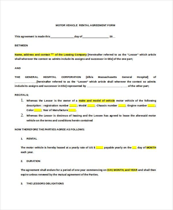 Lease Agreement Form Motor Vehicle Rental Agreement Form Doc Format