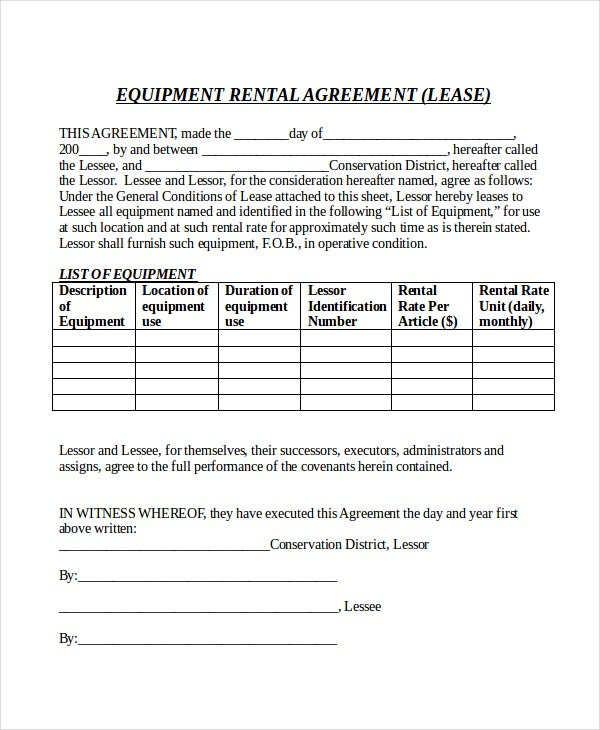Equipment Rental Agreement Form Doc Free Download