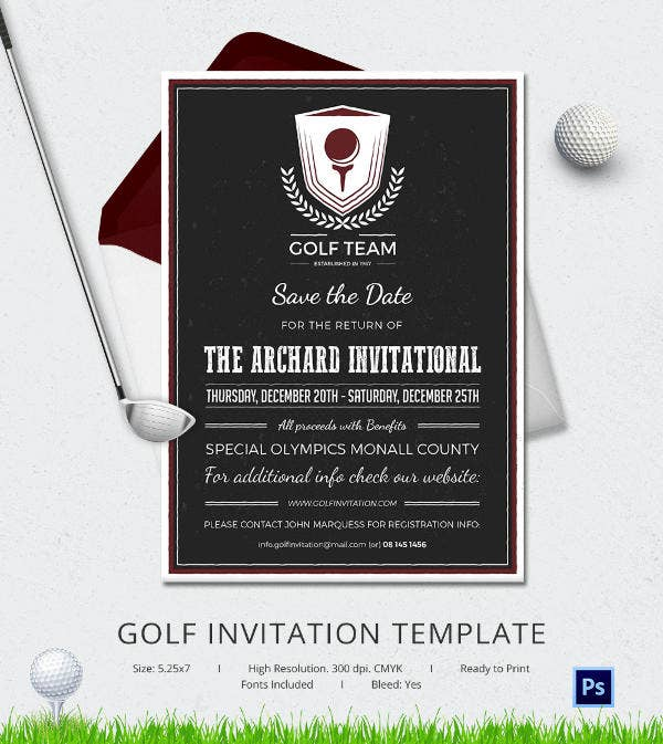 golf invitation card template