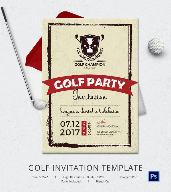 golf invitation design template