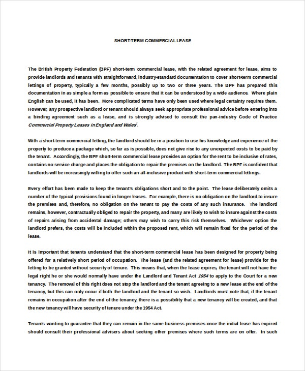Sample Commercial Lease Agreement Letter Template Free Download