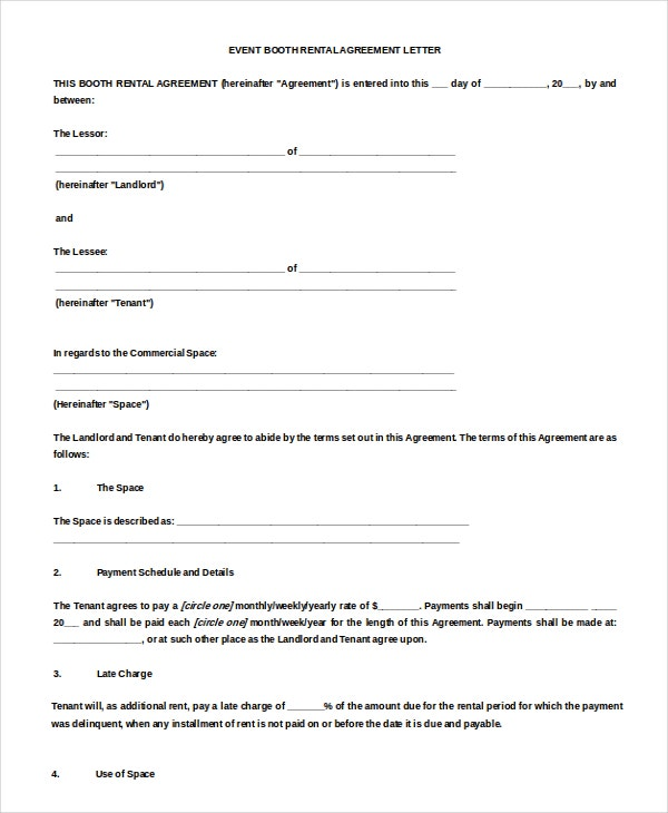 11 Rental Agreement Letter Templates Free Sample Example – Booth Rental Agreement