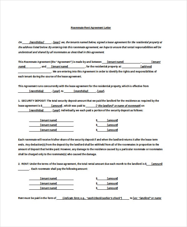 roommate rent agreement letter doc free download