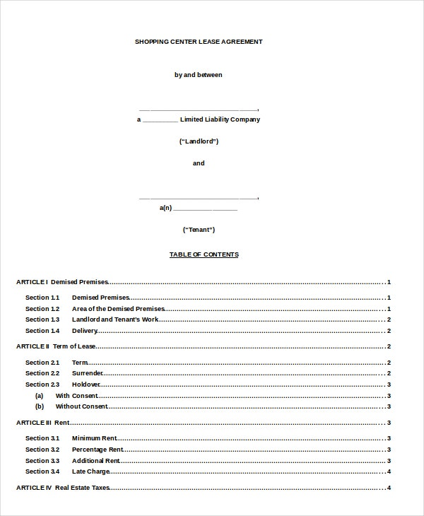 Shopping Mall Lease Agreement Doc Format Download for Free