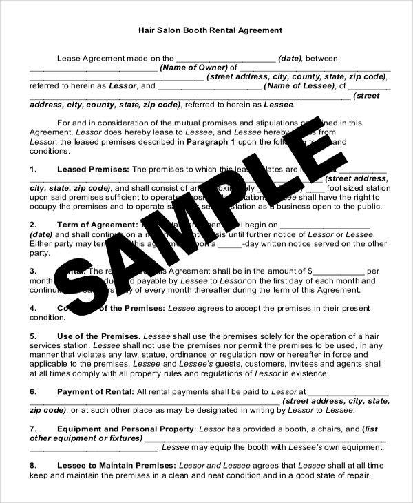 15 Rental Lease Agreement Free Sample Example Format Download – Booth Rental Agreement