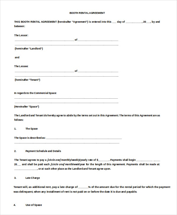 Event Booth Rental Agreement Sample Download